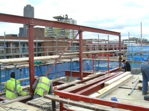 Steel frame structure above original warehouse